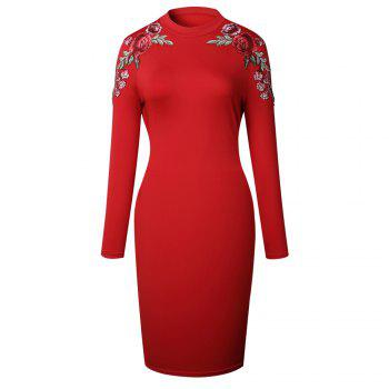 2018 The New Embroidery Is Trimmed in Plain Coloured Dress - RED RED