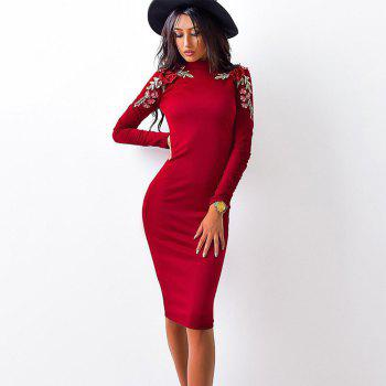 2018 The New Embroidery Is Trimmed in Plain Coloured Dress - RED L