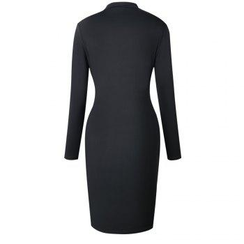2018 The New Embroidery Is Trimmed in Plain Coloured Dress - BLACK XL