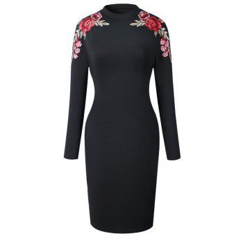 2018 The New Embroidery Is Trimmed in Plain Coloured Dress - BLACK BLACK