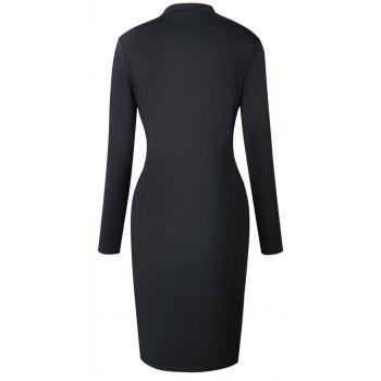 2018 The New Embroidery Is Trimmed in Plain Coloured Dress - BLACK L