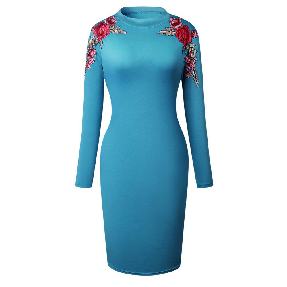 2018 The New Embroidery Is Trimmed in Plain Coloured Dress - BLUE S