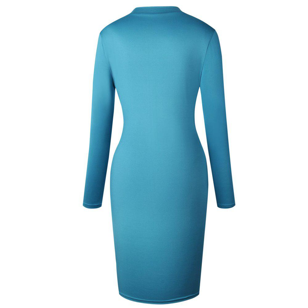 2018 The New Embroidery Is Trimmed in Plain Coloured Dress - BLUE XL
