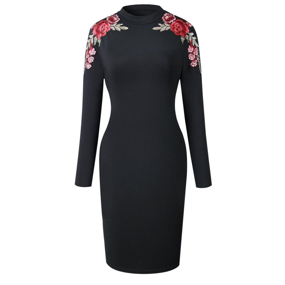 2018 The New Embroidery Is Trimmed in Plain Coloured Dress - BLACK S