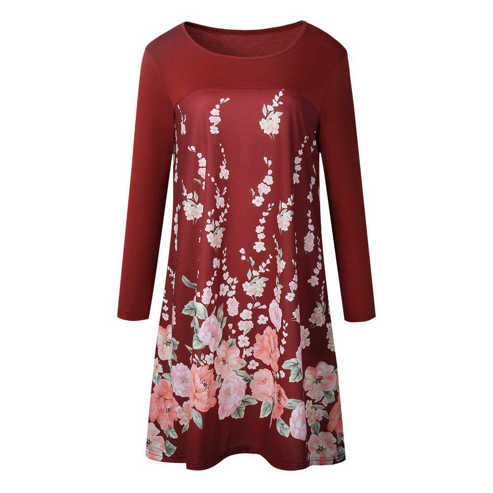 2017 New Round Neck Long Sleeve Print Dress - RED XL