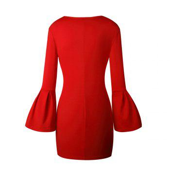 2017 New Style Bag Buttock Shaggy-Sleeve Dress - RED XL