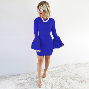 2017 New Style Bag Buttock Shaggy-Sleeve Dress - BLUE BLUE