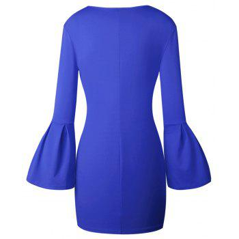 2017 Nouveau Style Sac Fendue Shaggy-Sleeve Dress - Bleu XL