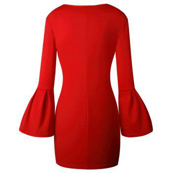 2017 New Style Bag Buttock Shaggy-Sleeve Dress - RED M