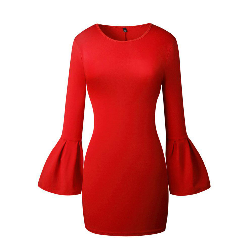 2017 New Style Bag Buttock Shaggy-Sleeve Dress - RED L