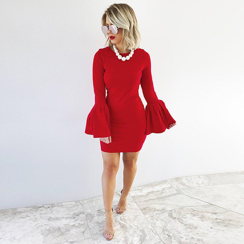 2017 New Style Bag Buttock Shaggy-Sleeve Dress - RED S