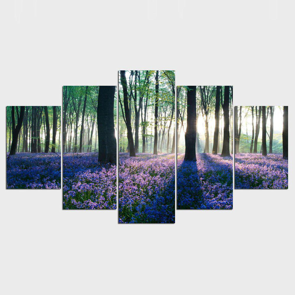 YSDAFEN 5 Panels HD Early Morning Lavender Giclee Canvas Wall Art - COLORMIX 30X40CMX2+30X60CMX2+30X80CMX1(12X16INCHX2+12X24INC