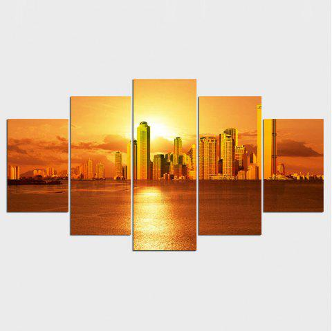 YSDAFEN Beautiful City With Sunset Modern Painting Home Wall Decor Canvas Print - COLORMIX 30X40CMX2+30X60CMX2+30X80CMX1(12X16INCHX2+12X24INC