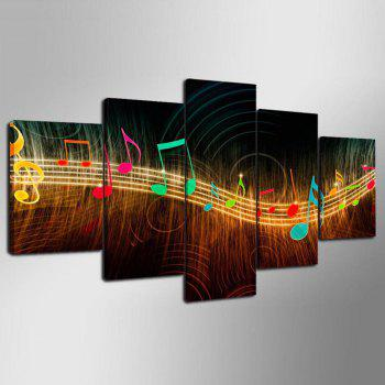 YSDAFE Abstract Music Notation Pictures Home Decor 5 Panel Wall Art Paintings - COLORMIX 30X40CMX2+30X60CMX2+30X80CMX1(12X16INCHX2+12X24INC