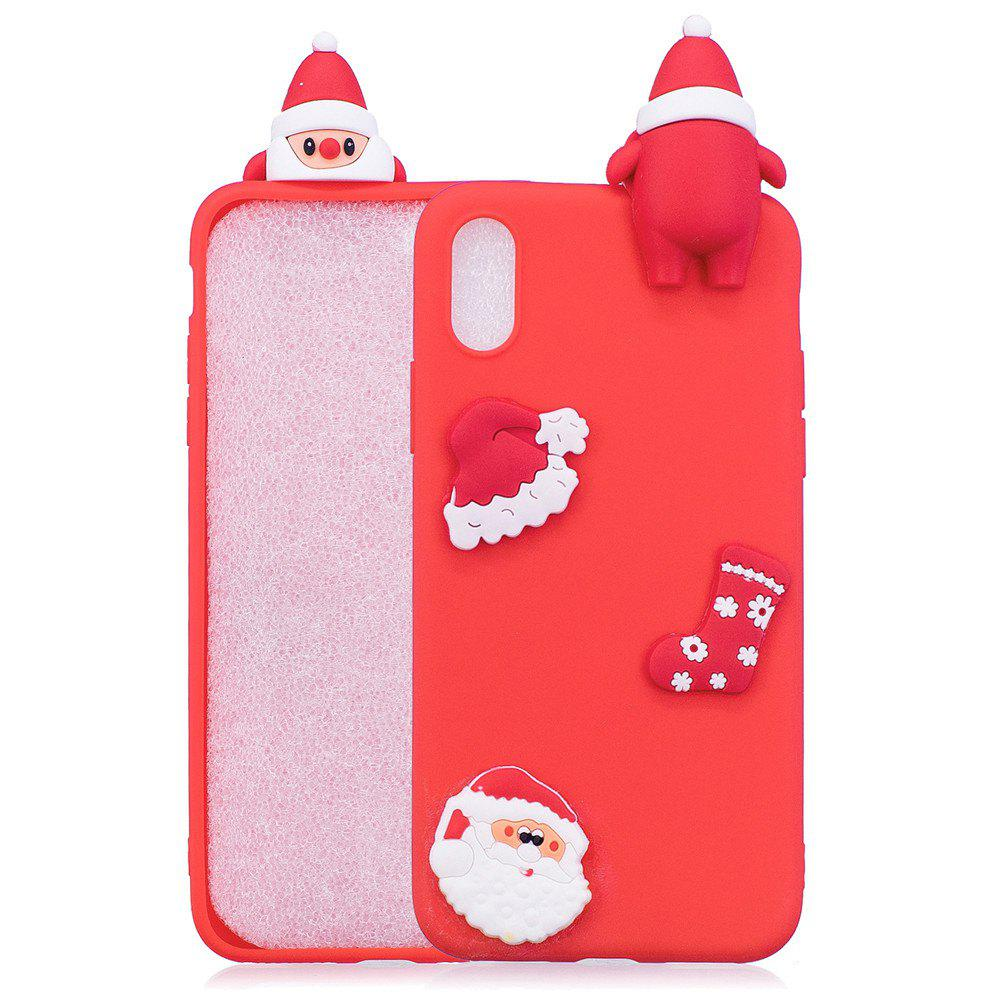 3D Cute Santa Claus Design Soft TPU Rubber Back Cover for iPhone X - RED
