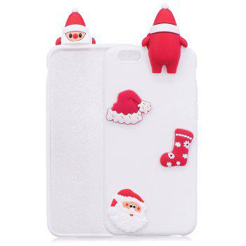 3D Cute Santa Claus Design Soft TPU Rubber Back Cover for iPhone 6 / 6S - WHITE WHITE