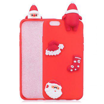 3D Cute Santa Claus Design Soft TPU Rubber Back Cover for iPhone 6 / 6S Plus - RED RED