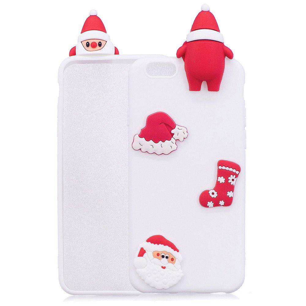 3D Cute Santa Claus Design Soft TPU Rubber Back Cover for iPhone 6 / 6S Plus - WHITE