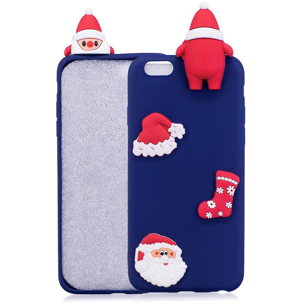 3D Cute Santa Claus Design Soft TPU Rubber Back Cover for iPhone 6 / 6S Plus - BLUE