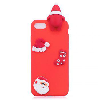 3D Cute Santa Claus Design Soft TPU Rubber Back Cover for iPhone 7 / 8 -  RED