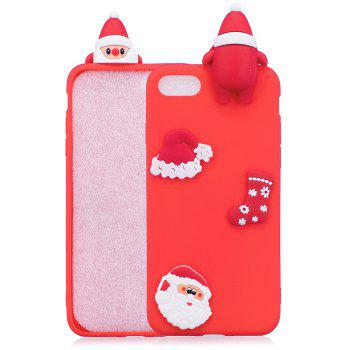 3D Cute Santa Claus Design Soft TPU Rubber Back Cover for iPhone 7 / 8 - RED RED