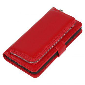 Leather Wallet with Card Holder Case Cover for iPhone 6 / 6S Plus - RED RED