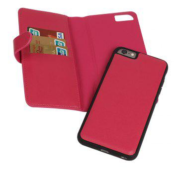 Leather Wallet with Card Holder Case Cover for iPhone 6 / 6S Plus -  ROSE RED