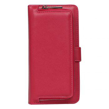 Leather Wallet with Card Holder Case Cover for iPhone 6 / 6S Plus - ROSE RED ROSE RED