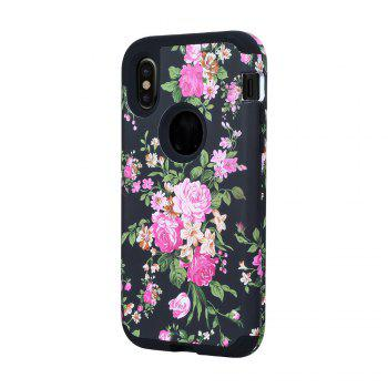 3 in 1 Hard PC with Soft Silicone Full Body Rose Design Phone Case for iPhone X -  BLACK