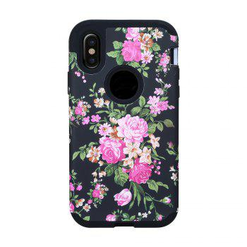 3 in 1 Hard PC with Soft Silicone Full Body Rose Design Phone Case for iPhone X - BLACK BLACK