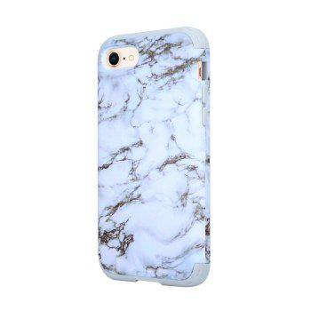3 in 1 PC with Silicone Marble Design Phone Cover Case for iPhone 7 / 8 -  WHITE