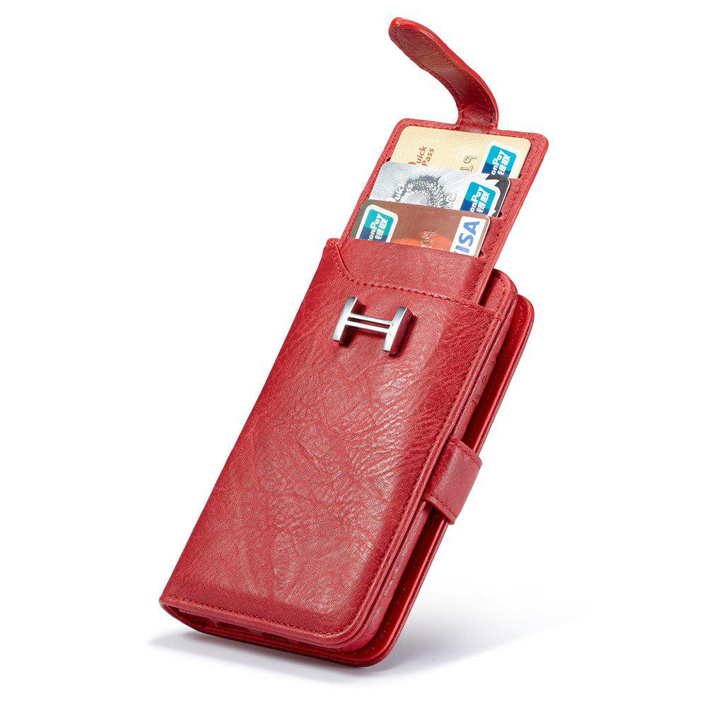 Leather Wallet Card Slots Shockproof Folio Flip Shell for iPhone 7 Plus / 8 Plus - RED