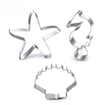 3PCS Ocean Scenario Cookies Cutter Starfish Hippocampus Sea Shell Stainless Steel Cake Mold - SILVER