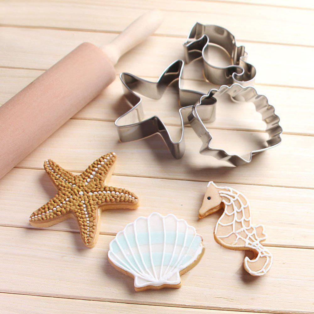 купить 3PCS Ocean Scenario Cookies Cutter Starfish Hippocampus Sea Shell Stainless Steel Cake Mold в интернет-магазине