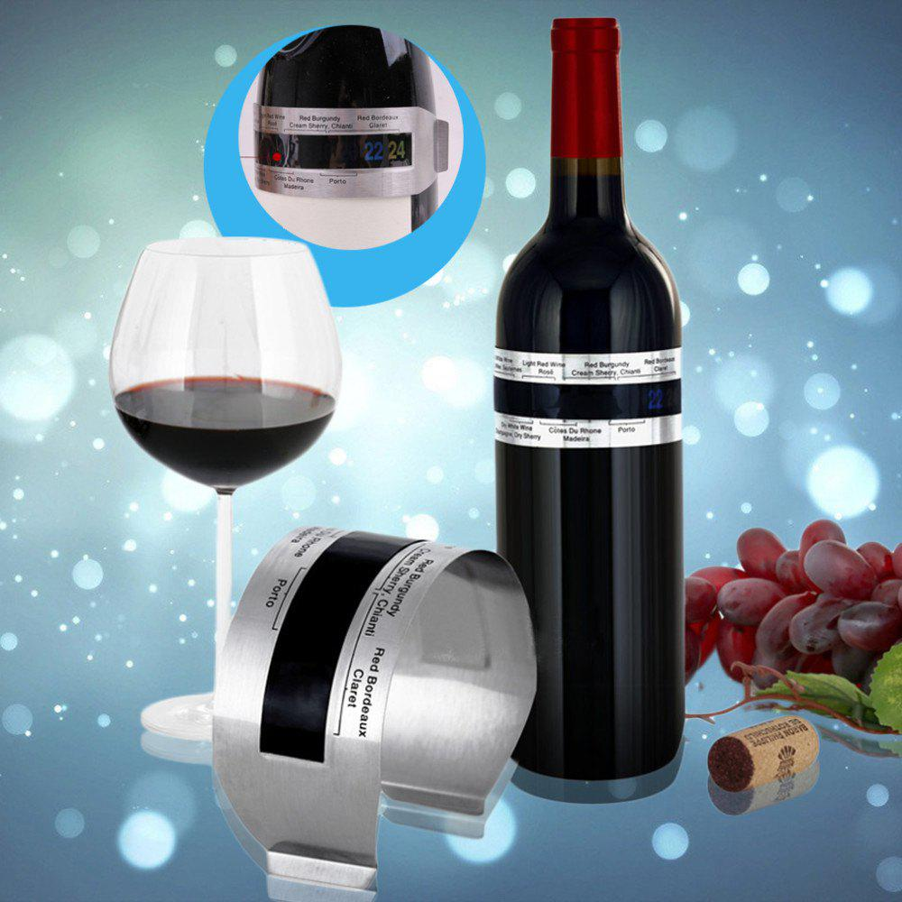 Hoard Stainless Steel Wine Bracelet Thermometer 4-26 Centigrade Degree Red Wine Temperature Sensor - SILVER