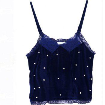 Lace Pearl Stitching  Camisole - BLUE BLUE