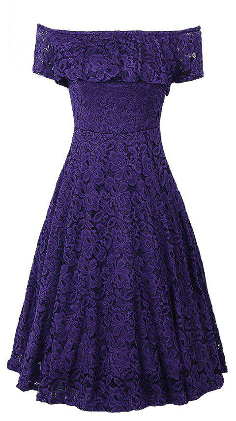 Off Shoulder Floral Lace Party Swing  Women Cascading Ruffle Lace Casual Formal A Line Dress - PURPLE L