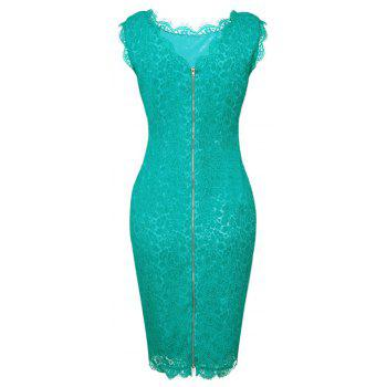 New Style Summer Fashion Elegant Women Embroidery Sexy Lace  Sleeveless Casual Evening Party  Dress - GREEN M