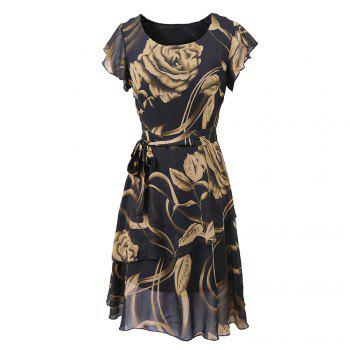 New Style Summer Fashion Casual Floral Print Women Round Neck Hollow Out Printed Bowknot Chiffon  Dress - BLACK BLACK