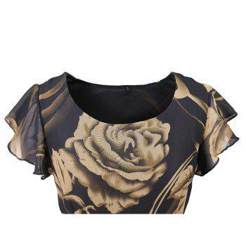 New Style Summer Fashion Casual Floral Print Women Round Neck Hollow Out Printed Bowknot Chiffon  Dress - BLACK M