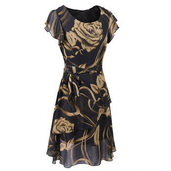 New Style Summer Fashion Casual Floral Print Women Round Neck Hollow Out Printed Bowknot Chiffon  Dress - BLACK XL
