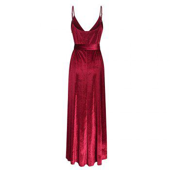 New Velvet Long Evening Party  Women Wrap Spaghetti Strap Sexy Ladies Backless Maxi Elegant Dress - WINE RED L