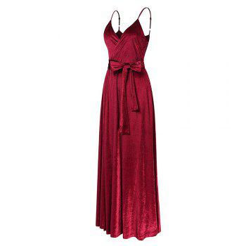 New Velvet Long Evening Party  Women Wrap Spaghetti Strap Sexy Ladies Backless Maxi Elegant Dress - WINE RED WINE RED