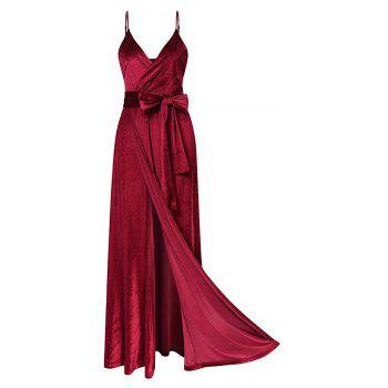 New Velvet Long Evening Party  Women Wrap Spaghetti Strap Sexy Ladies Backless Maxi Elegant Dress - WINE RED S