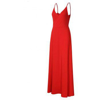 New Velvet Long Evening Party  Women Wrap Spaghetti Strap Sexy Ladies Backless Maxi Elegant Dress - RED XL