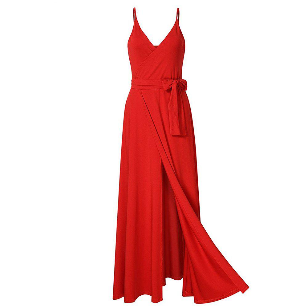 New Velvet Long Evening Party  Women Wrap Spaghetti Strap Sexy Ladies Backless Maxi Elegant Dress - RED L