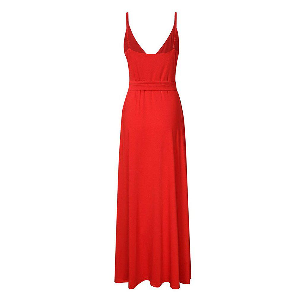 New Velvet Long Evening Party  Women Wrap Spaghetti Strap Sexy Ladies Backless Maxi Elegant Dress - RED 2XL