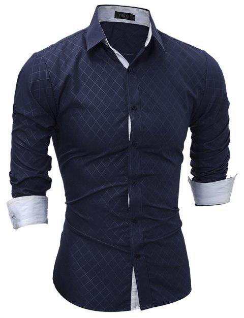 2017 Spring New Classic Lined Dark Lines Lingge Men'S Casual Long-Sleeved Shirt - CADETBLUE L