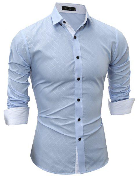 2017 Spring New Classic Lined Dark Lines Lingge Men'S Casual Long-Sleeved Shirt - LIGHT BLUE 2XL