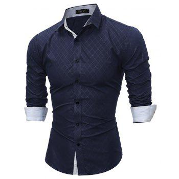 2017 Spring New Classic Lined Dark Lines Lingge Men'S Casual Long-Sleeved Shirt - CADETBLUE M